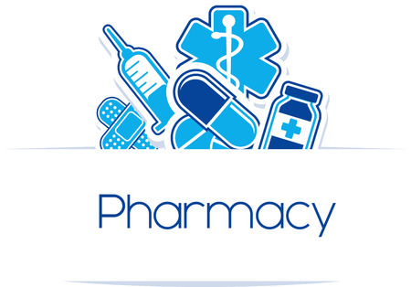 pharmacy medicines design with copy space isolated on white background Vector