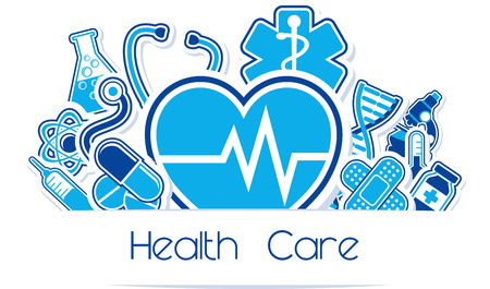 heath care and medical design elements with copy space isolated on white background Illustration