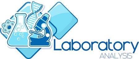 laboratoriumanalyse ontwerp geïsoleerd op witte achtergrond Stock Illustratie