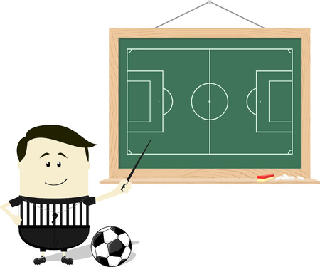 cartoon illustration of soccer referee teaching with blackboard isolated on white background Иллюстрация