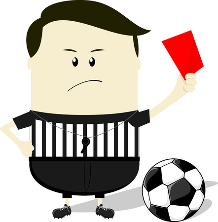 cartoon illustration of soccer referee showing red card