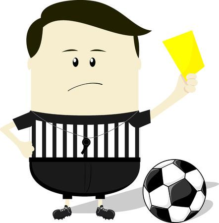 tarjeta amarilla: ilustraci�n de dibujos animados de �rbitro de f�tbol muestra la tarjeta amarilla