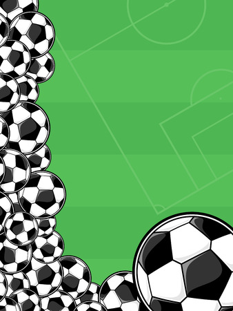 soccer balls border on green background for copy space