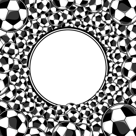 soccer balls circle framed background with copy space Vector