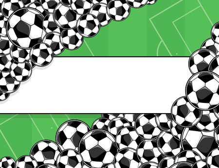 soccer field: soccer balls border on green playing field background