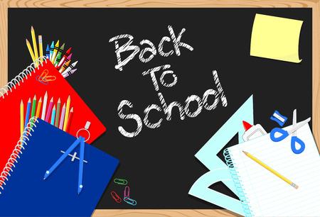 blackboard and school education supplies items background Illusztráció