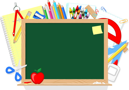 accessory: blackboard and school education supplies items isolated on white background