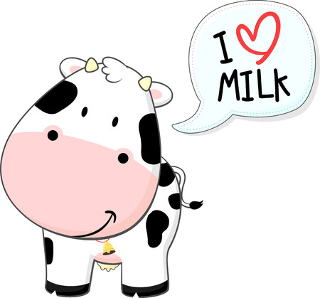 cute baby cow illustration isolated on white background Çizim