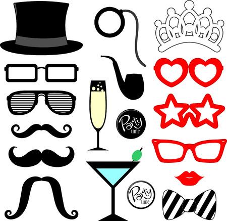 파티 소품 용 수염, 입술, 안경 실루엣과 디자인 요소 흰색 배경에 고립 일러스트