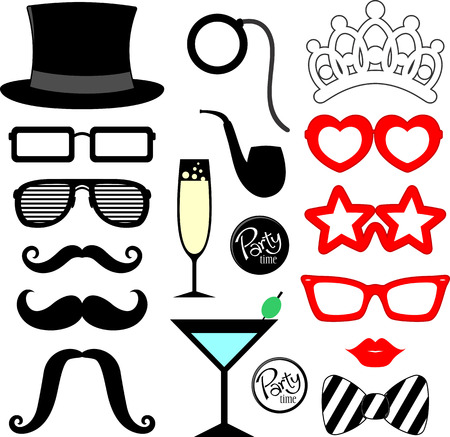 mustaches, lips, eyeglasses silhouettes and design elements for party props isolated on white background Stock Illustratie