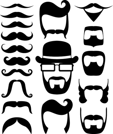 bowler hat: set of black moustaches and beard silhouettes, design elements for party props isolated on white background