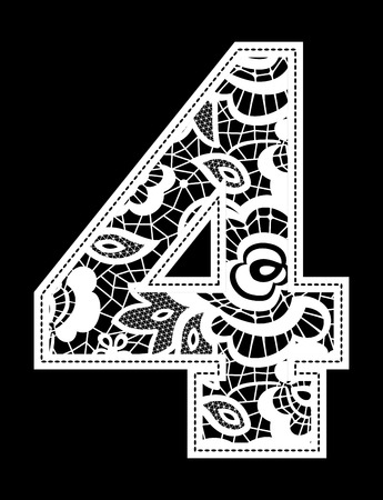illustration of embroidery lace number isolated on black background Illustration