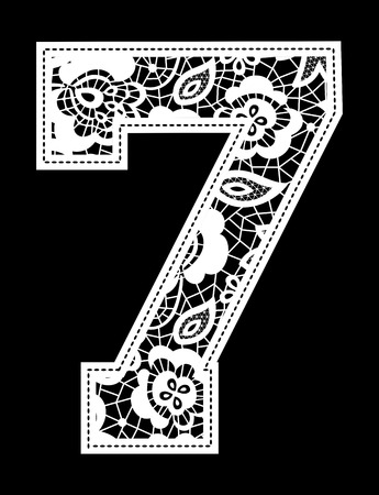 illustration of embroidery lace number isolated on black background Vector