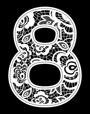 guipure: illustration of embroidery lace number isolated on black background Illustration