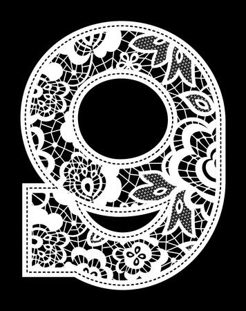 backstitch: illustration of embroidery lace number isolated on black background Illustration