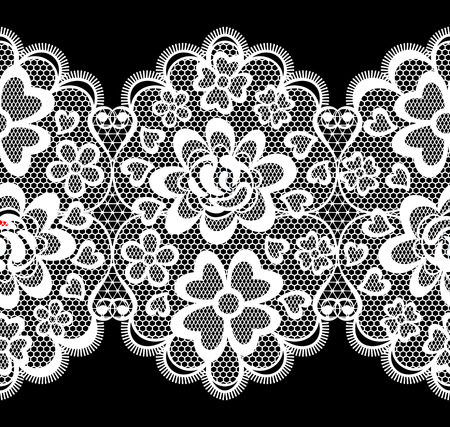 lace embroidery seamless border isolated on black background