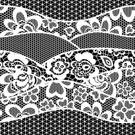 textile design: lace embroidery seamless pattern border isolated on black background