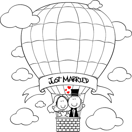 bridal couple on hot air balloon cartoon isolated on white background
