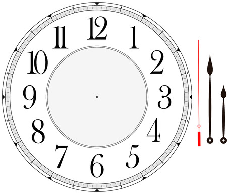 clock: clock face template with hour, minute and second hands to make your own time isolated on white background
