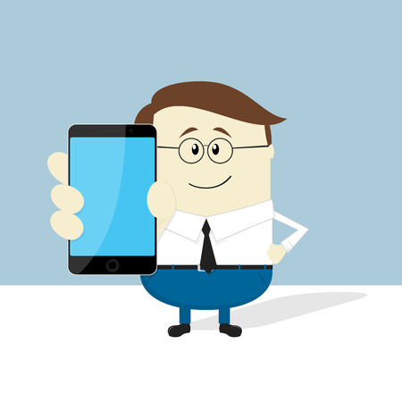 holding smart phone: smiling businessman with smart phone showing blank screen Illustration