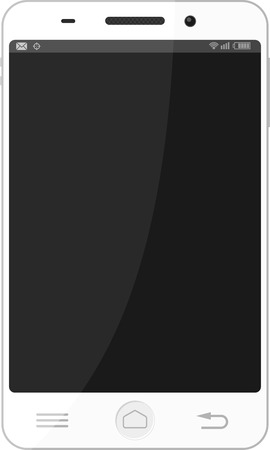 white smart phone with empty black screen for copy space isolated