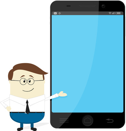 anything: businessman showing big smartphone with empty screen for copy space, presenting new app, message or anything else