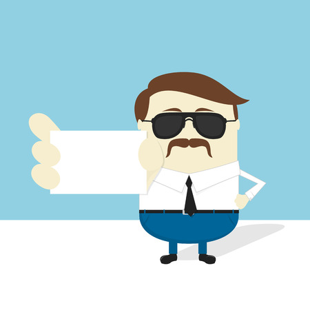 businesscard: serious businessman with sunglasses and mustache showing blank businesscard