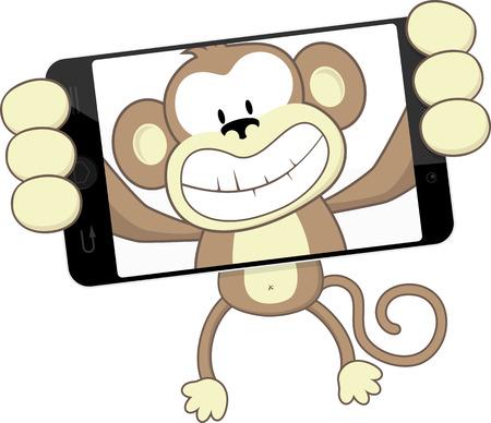 mono caricatura: de dibujos animados mono divertido se fotografía con el teléfono inteligente aislados en fondo blanco