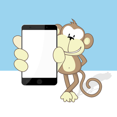 holding smart phone: smiling monkey with smart phone showing blank touch screen