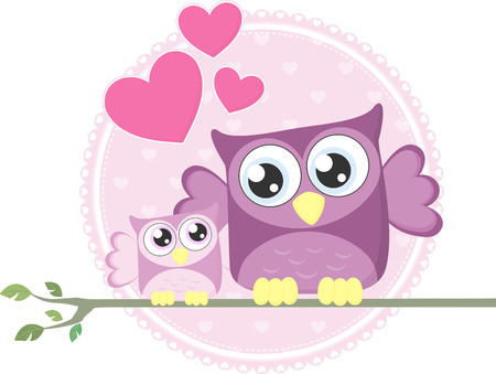 owl illustration: cute baby owl and mom sitting on a branch