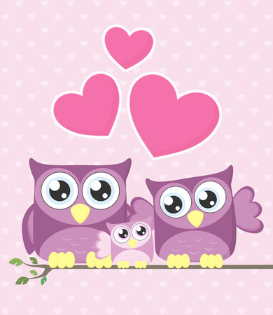 owl illustration: cute owls couple with baby owl sitting on a branch