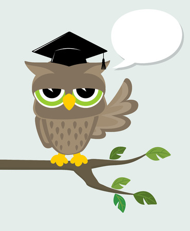 owl illustration: wise owl with mortarboard sitting on a branch and text balloon Illustration