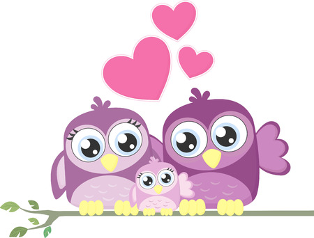 cute birds family posing on a branch isolated on white background Vector