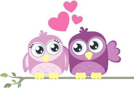 enamorados caricatura: linda pareja de pájaros cariñosos aislados en el fondo blanco Vectores