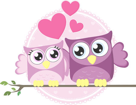 cute couple of loving owls isolated on white background