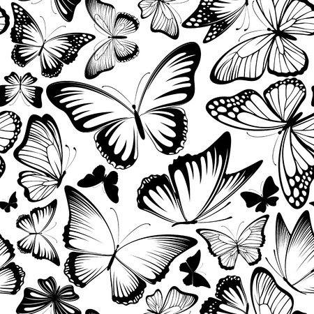 black butterfly: seamless pattern with beautiful lbutterflies silhouettes in black and white