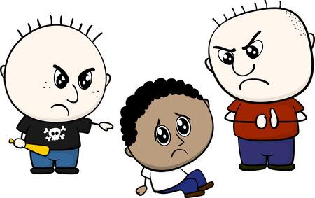 cartoon illustratie van twee kinderen pesten en plagen kleine bruine jongen op een witte achtergrond