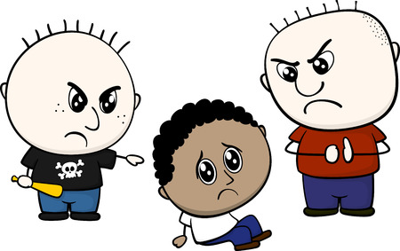 tease: cartoon illustration of two childs bullying and teasing little brown kid isolated on white background