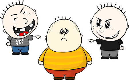 cartoon illustration of two childs bullying and teasing of obese and overweight child isolated on white background