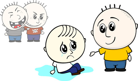 kid offers help to stand up to bullied little child Illustration