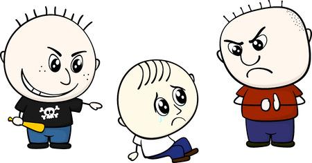 흰색 배경에 고립 된 작은 아이를 괴롭 히는 아이 일러스트