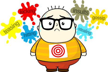 bullying: stressed little fat boy target for bullies isolated on white background