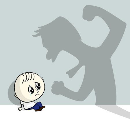 illustratie van kindermishandeling met weinig kind op de grond zitten en agressieve schaduw op de muur Stock Illustratie