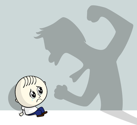 illustration of child abuse with little child sitting on the ground and aggressive shadow on the wall