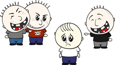 escuela infantil: ilustración de dibujos animados de dos childs acoso y las burlas niño aislado en fondo blanco