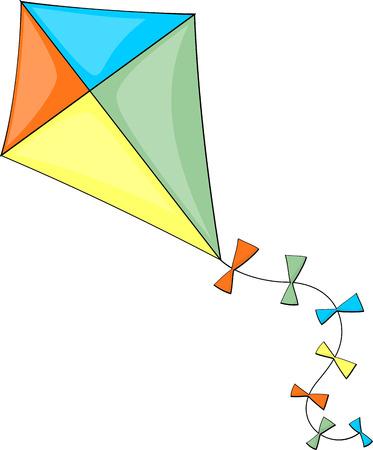 カラフルな凧の白い背景で隔離のイラスト