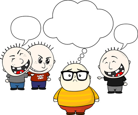 fat kid and bullies with blank balloon text isolated on white background  イラスト・ベクター素材