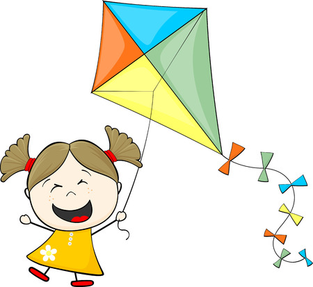 little girl with pigtails playing kite isolated on white background