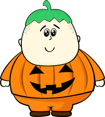 Fat kid: fat kid with pumpkin costume isolated on white background