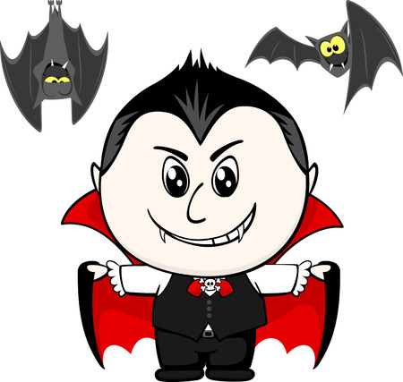 vamp: little child with vampire costume and bats isolated on white background